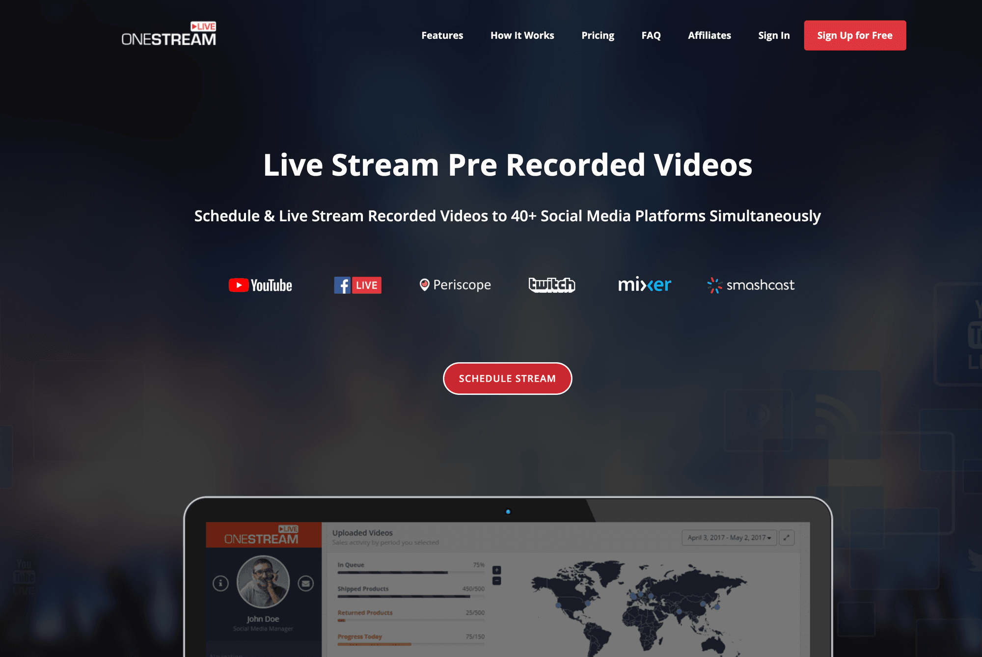 OneStream Live: a great restream alternative to schedule pre-recorded videos as LIVE streams